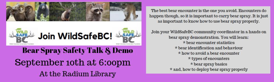 Bear Spray Safety Talk & Demo @ Radium Hot Springs Public Library