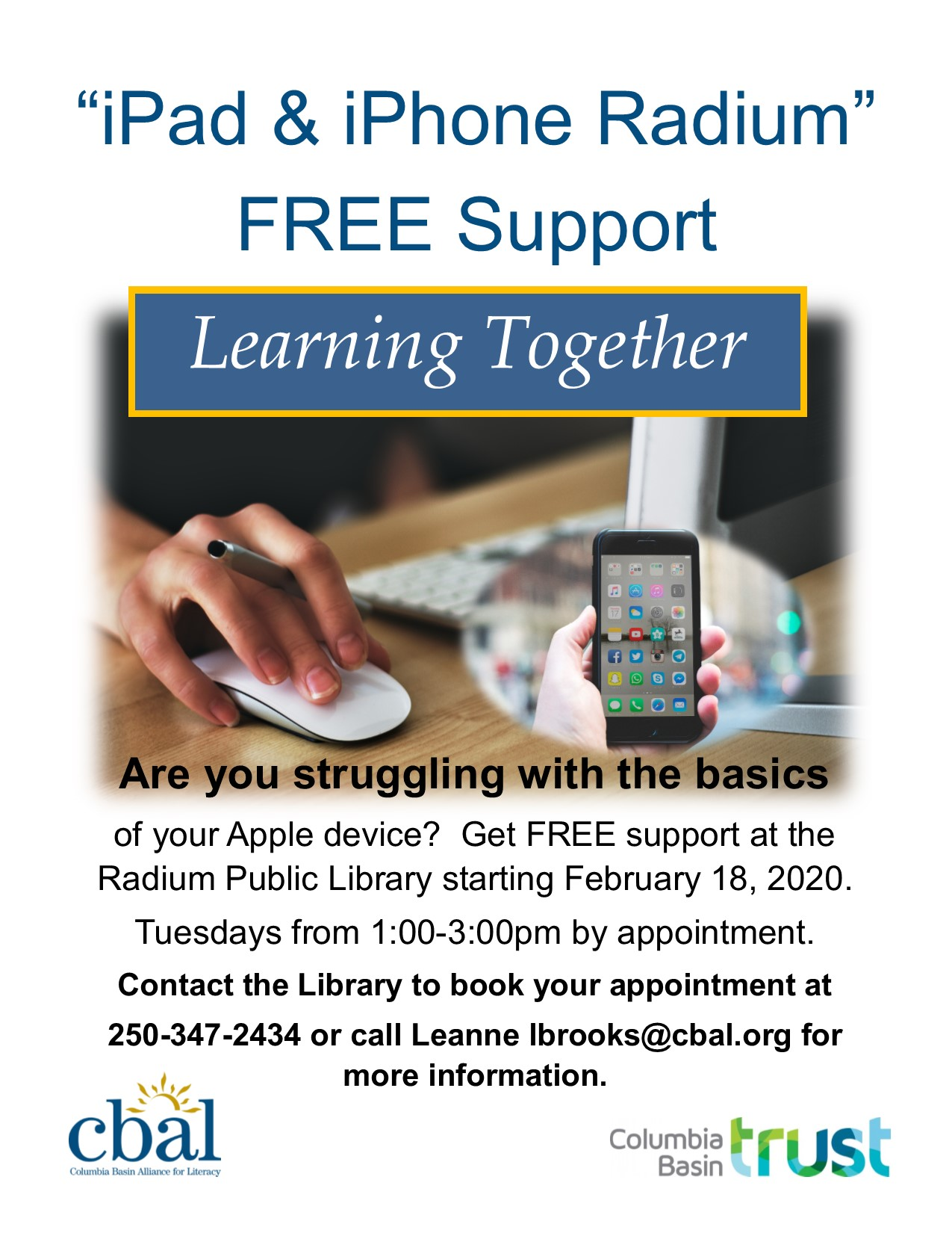 Apple Support (By Appointment)- CBAL Program @ Radium Hot Springs Public Library